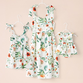 Bow-knot Sling Matching Dresses
