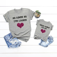 Shiny Love Print T-shirts for Mommy and Me