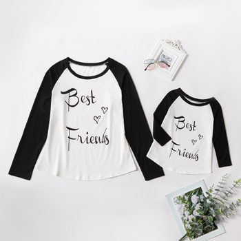 """""""Best Friends"""" Letter Fake Two Long Sleeve T-shirts for Mom and Me"""