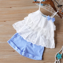 2-piece Baby / Toddler Girl Stylish Layered Top and Striped Shorts Set