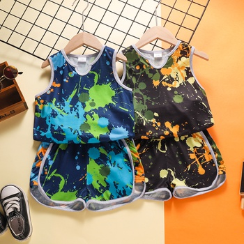 2-piece Baby / Toddler Boy Sporty Dyed Camisole and  Shorts  Set