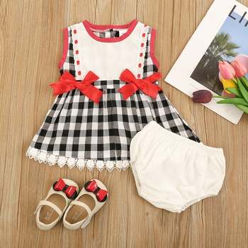 2pcs Summer Cotton Sleeveless Baby Girl Sweet Plaid Baby's Sets