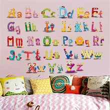 Adorable Animal Design Letter Recognizer Wall Sticker for Early Education