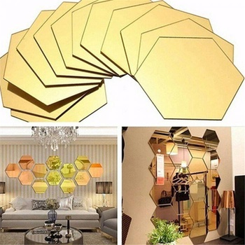12-pack Removable Hexagon 3D Mirror Wall Stickers Decor Home Bathroom Stickers Use As Glass Mirror