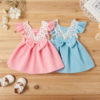 Beautiful Bow Decor Flutter-sleeve Dress for Toddler Girl