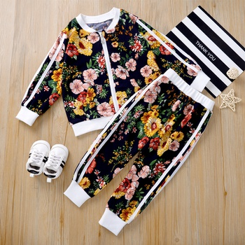 2-piece Baby / Toddler Girl Vintage Floral Allover Jacket and Striped Pants Set