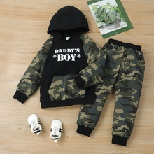 2-piece Baby / Toddler Boy Letter Camouflage Long-sleeve Hooded Top and Pants Set
