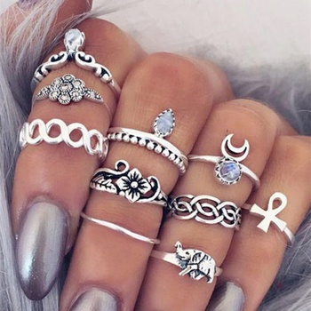 10-piece Stylish Ring for Women