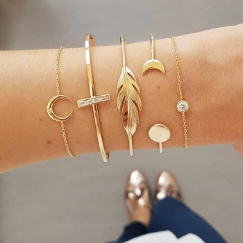 5 Pcs Moon And Leaf Decor Bracelet Set