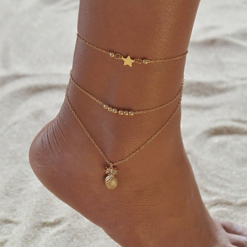 Fashion Pineapple Stars Anklets Bracelet Beads Anklet Women Leg Chain Bohemian Wave Foot Jewelry Gift