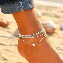 Bohemia Beach Heart Anklet Peach Heart Anklet Fashion Jewelry Women Anklet Double Layer Chain