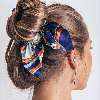 Women Vintage Big Bowknot Scrunchies With Pearl Print Flower Hair Ties Hair Holder Rubber Bands Gum For Hair Hair Accessories