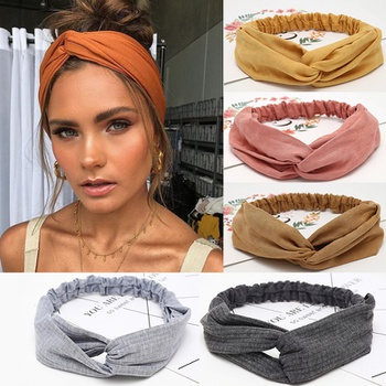 Women Cross Elastic Turban Sports Yoga Headbands