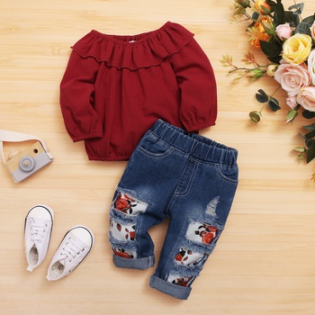2pcs Baby Girl Long-sleeve Cotton Sweet Floral Baby's Sets