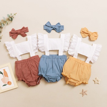 2-piece Baby Flutter-sleeve Lace Romper with Headband Set