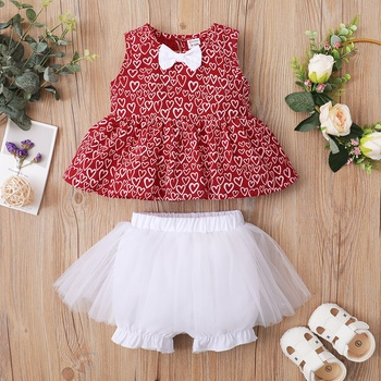 2pcs Baby Girl Sweet Heart-shaped Sleeveless Tulle Cotton Baby's Sets