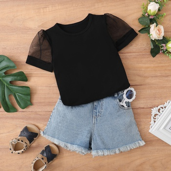 2-piece Toddler Girl Solid Breathable Top and Denim Shorts Set