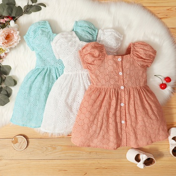 1pc baby Girl Solid Cute Cotton Summer Dress