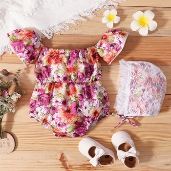 2-Piece Baby Floral Print Flutter-sleeve Romper and Hat Set