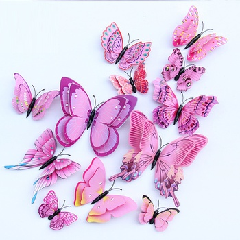 12 Pcs Double Layer Flexible Butterfly Wall Decor-Pink
