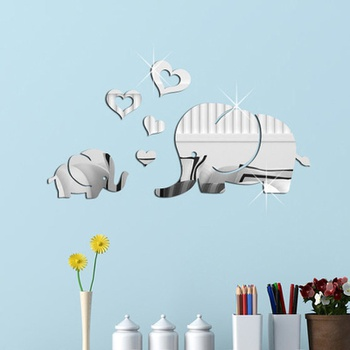 Cartoon Elephant Heart 3D Mirror Wall Art Mirror Wall Sticker Party Wedding Home Decors
