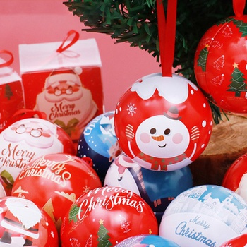 Christmas Ball Shape Gift Box Metal Round Ball Candy Box Creative Christmas Ball Shape Gift Box for Office Store Party Home