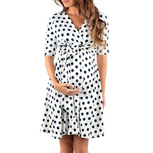 Pretty Dotted Half-sleeve Maternity Dress