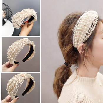 Ladies Lace Peral Design Turban Headband