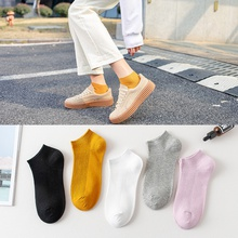 5 Pairs Women Socks Breathable Sports socks Solid Color Boat socks Comfortable Cotton Ankle Socks