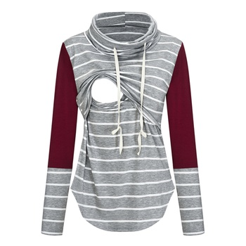 Stylish Striped Long-sleeve Nursing Top