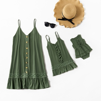 Mommy and Me Lace Stitching Tank Solid Ruffle Dresses