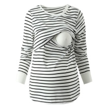 Casual Striped Long-sleeve Nursing Tee ( Random printing position)