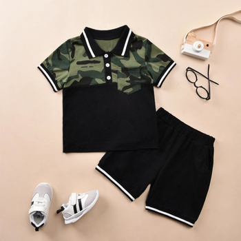 2-piece Toddler Boy Camouflage Top and Shorts Set