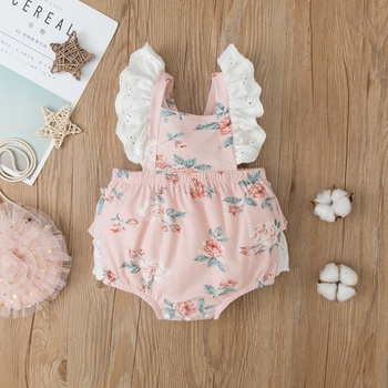 Baby Lace Flutter-sleeve Romper