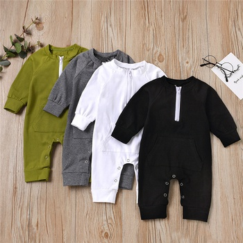 Baby Casual Solid Pocket Jumpsuit