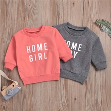 Baby Unisex casual Letter Pullovers Long-sleeve Cotton Solid Hoodies