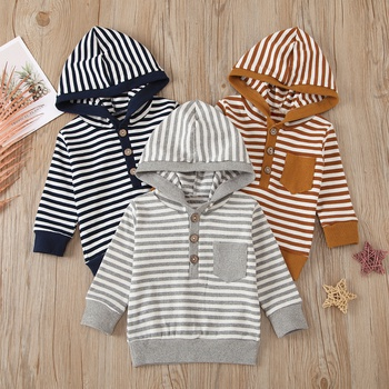 Baby Boy casual Stripes Pullovers & Hoodies Cotton Fashion Long Sleeve Infant Clothing Outfits