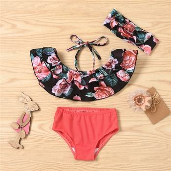 3pcs Baby Girl Floral Swimsuit