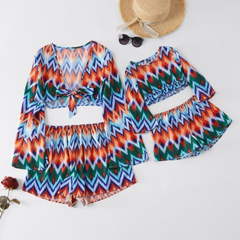 Bohe Style Tie-up Top and Shorts  Matching Set