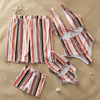 Colorful Stripe Matching Swimsuit for Summer
