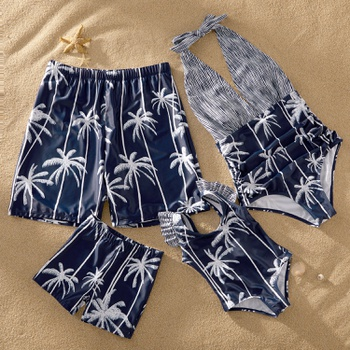 Mosaic Family Matching Coconut Tree Striped Halter Swimsuits