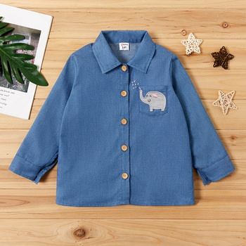 Toddler Boy / Girl Adorable Elephant Embroidery Long-sleeve Shirt
