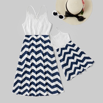 Mommy and Me Lace Stitching Wave Striped Tank Dresses