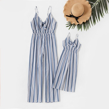 100% Cotton Striped Sling Matching Jumpsuits