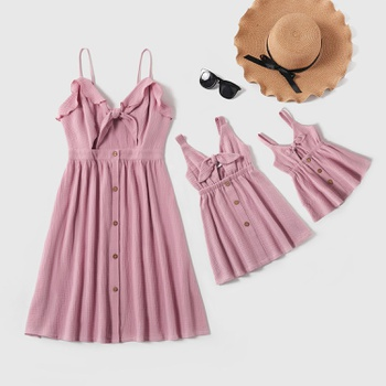 Mommy and Me Cotton Front-Bowknot Hollow-Carved Solid Tank Dresses