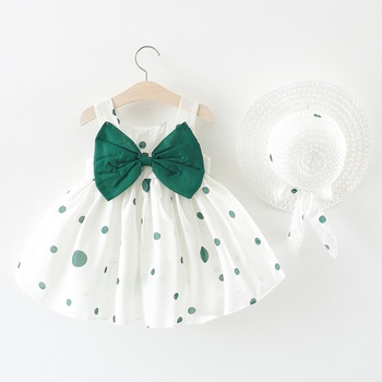 Front Big Bow Polka Dot Dress with Hat