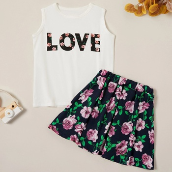 Casual Letter Print Tank and Flower Skirt