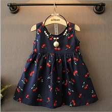 Baby / Toddler Girl Sweet Cherry Print Backless Sleeveless Dress