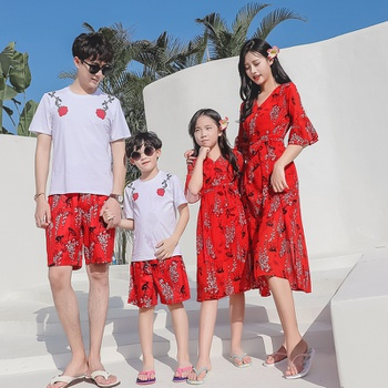 Summer New Family Matching Floral Short-sleeve Dresses Tops