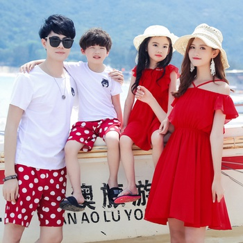 Summer New Family Matching Polka Dots Dresses Tees